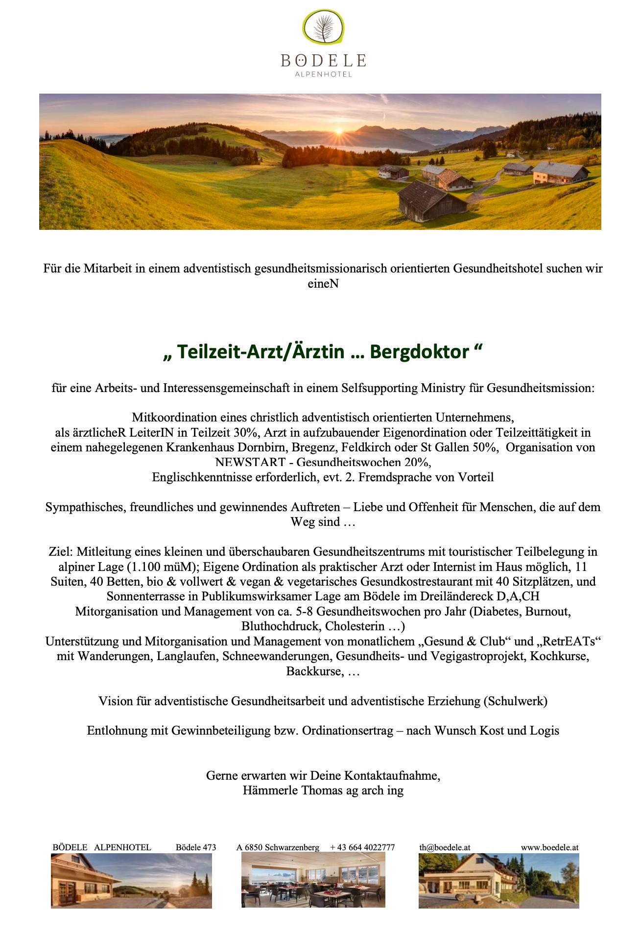 Stellenausschreibung Koch, Arzt, Leiter Rezeption, Bödele Österreich